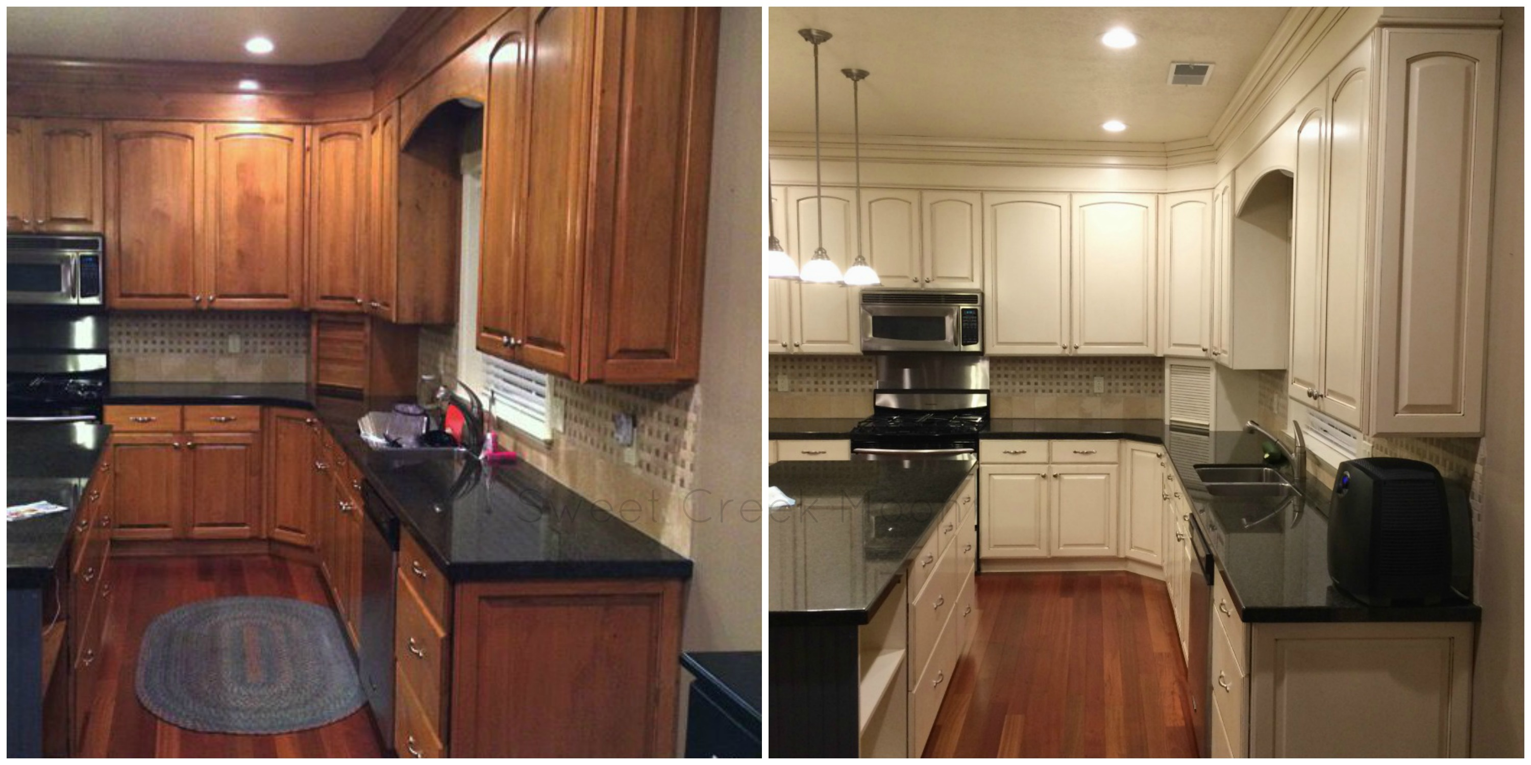 Kitchen cabinet makeover 2015 sweet creek moon for Cabinets before and after